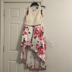Two piece cropped floral high low gown size 9